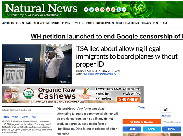 Natural News Ad Link Violation