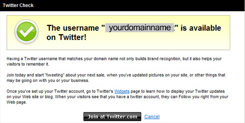 GoDaddy Twitter name check feature